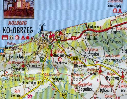 Karte Ostseeküste Polen.Polnische Ostseeküste 1 200 000 Po
